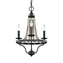 American Rustic Candle Chandelier 3/6 Lights Metal and Wooden Beads Pendant Lights in Black