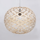 Rustic Style Globe Ceiling Light Single Light Wood Beige Pendant Lighting for Restaurant Shop