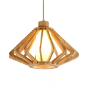 Bamboo Ceiling Light Single Light Vintage Style Pendant Lighting in Beige for Kitchen Dining Room