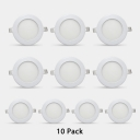 9W Wireless Flush Mount Recessed Down Light Pack of 10 Round Light Fixture in Warm White for Restaurant Hotel