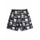 Funny Cartoon Animal Printed Guys Drawstring Waist Black Casual Swim Trunks