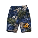 Mens Summer Fashion Tropical Leaf Tiger Printed Drawstring Waist Blue Beach Shorts Swim Trunks