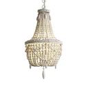 Antique Style Chandelier 3 Lights Wooden Beads Pendant Lighting in White/Gray for Bedroom