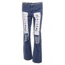 Fashion Fringed Hem Lace-Up Front Distressed Ripped Blue Flared Jeans for Women