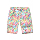 Funny Cartoon Colorful Candy Pattern Drawstring Waist Casual Loose Beach Shorts Swim Shorts