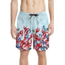 Men's Trendy Carp Fish Print Light Blue Quick Dry Beach Swim Board Shorts