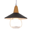 Macaron Cone Pendant Light with Wood Cap 1 Light Metal Hanging Lamp for Children Room
