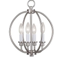 Brushed Nickel Globe Ceiling Pendant with Candle 4 Lights Modern Metal Pendant Lighting