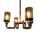 Black Cylinder Chandelier Lighting with Metal Mesh 4 Lights Vintage Rustic Ceiling Pendant in Antique Bronze