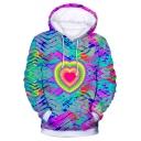 New Trendy Tie Dye Heart Printed Basic Long Sleeve Casual Loose Drawstring Hoodie