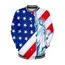 Independence Day Cool Flag Printed Rib Stand Collar Button Front Baseball Jacket