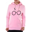Trendy Glasses Simple Printed Long Sleeve Loose Fit Pullover Hoodie