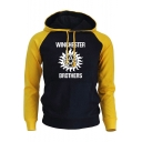 WINCHESTER BROTHERS Letter Fashion Colorblock Pullover Drawstring Hoodie