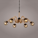 Rustic Style Beige Chandelier with Clear Glass Ball 6 Lights Rope Pendant Lighting for Dining Room