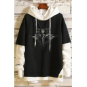 Cool Black Crow Printed Colorblock Fake Two-Piece Pullover Hoodie