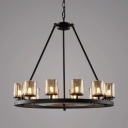 Traditional Round Chandelier 12/16 Lights Metal Pendant Lighting in Black for Living Room