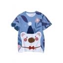 Summer Cute Cartoon Blue Bear Printed Short Sleeve Casual T-Shirt