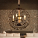 Industrial Orb Caged Hanging Lights Metal 3/4 Lights Black Chandelier for Living Room Kitchen