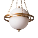 Living Room Orb Shape Chandelier Metal and Glass Antique Style White Ceiling Light Fixture