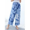 Women's Stylish Ethnic Style Tie Dye Drawstring Waist Breathable Wide-Leg Pants