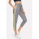 Trendy Stripe Tape Side Tied Waist Black and White Checkerboard Print Cropped Pants for Women
