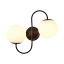 Frosted Glass and Metal Wall Lamp Kitchen Living Room 2 Lights Industrial Globe Wall Sconce