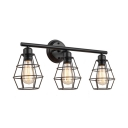 3-Ligt Tapered Shade Vanity Light  for Bathroom Industrial Wire Guard Wall Lighting in Black