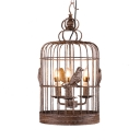 Coffee Shop Birdcage Chandelier with Bird Decoration Metal 3 Lights Industrial Suspension Light