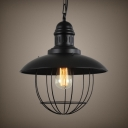 Industrial Domed Shape Pendant Light Single Light Metal Ceiling Pendant in Black for Dining Room