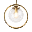 European Style Globe Hanging Lamp Clear/Amber/Smoke Gray Glass and Metal Single Light Pendant Light for Bedroom