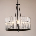 3 Lights Drum Shape Pendant Lighting Industrial Metal and Clear Glass Chandelier in Black