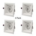 (4 Pack)7W 4 Inch Recessed Light Fixture with Adjustable Angle Wireless Square Ceiling Light Recessed in White/Warm