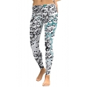 New Trendy Allover Skull Ghost Printed Stretch Fit Leggings for Women