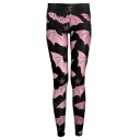 Fashion Allover Cartoon Bat Printed Womens Skinny Fit Black Leggings