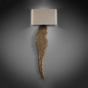 Antique Style Rectangle Shade Light Fixture with Feather Shape Body Wood and Fabric LED Wall Light for Villa