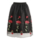 Summer Vintage Fancy Cubic Rose Floral Embroidery Tiered Mesh Black Midi Swing Skirt