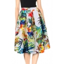 Womens Unique Vintage Tropical Printed Gathered Waist Midi Swing Skirt