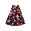 Vintage Black Skull Floral Pattern High Rise Midi Swing Skirt