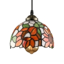 Elegant Tiffany Style Pendant Light with Oversize Sunflower Pattern