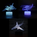 7 Color Changeable 3D Illusion Light Bedroom USB Port and Battery Airplane LED Night Light with Touch Sensor