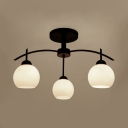 White Globe Shade Semi Flush Mount Light 3/5/6 Lights Metal Open Frosted Glass Ceiling Light for Restaurant Shop