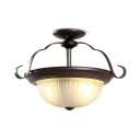 Frosted Glass Metal Light Fixture 2 Lights Antique Style Semi Flush Mount Light with White Dome Shade for Bedroom