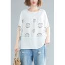 Womens Plus Size Summer Fashion Polka Dot Printed Oversized Linen T-Shirt