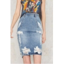 New Fashion Distressed Ripped Sexy Split Back Washed Blue Pencil Skirt Denim Skirt