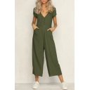 Womens Holiday Simple Plain V-Neck Short Sleeve Button Front Wide Leg Pants Jumpsuits
