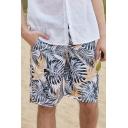 Guys Summer Fashion Tropical Plants Printed Drawstring Waist Quick Drying Surfing Swim Trunks