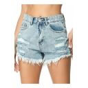 Womens Summer Light Blue Distressed Ripped Frayed Hem Denim Shorts