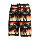 Summer New Fashion Tropical Coconut Palm Printed Quick Dry Mens Swimwear Board Shorts