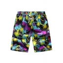 Men's Summer Tropical Print Drawcord Waist Fast Drying Loose Fit Beach Swim Shorts