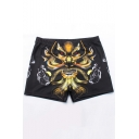 Street Fashion Monster Printed Quick Dry Training Shorts Swim Shorts with Liner